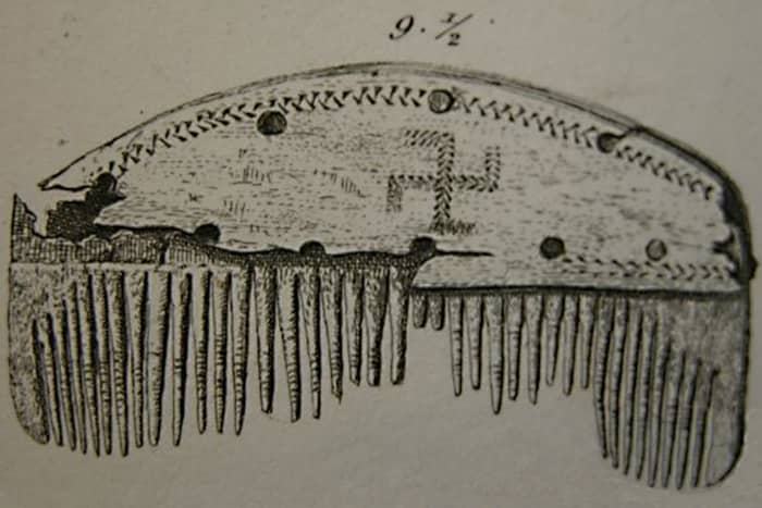 This comb with a swastika symbol is dated to 200-400 AD. It was found in the Nydam Bog in Denmark
