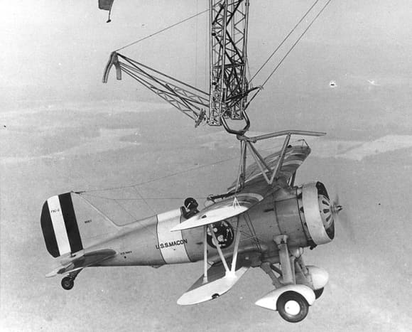 A Sparrowhawk attached to its mother ship, the USS Macon.
