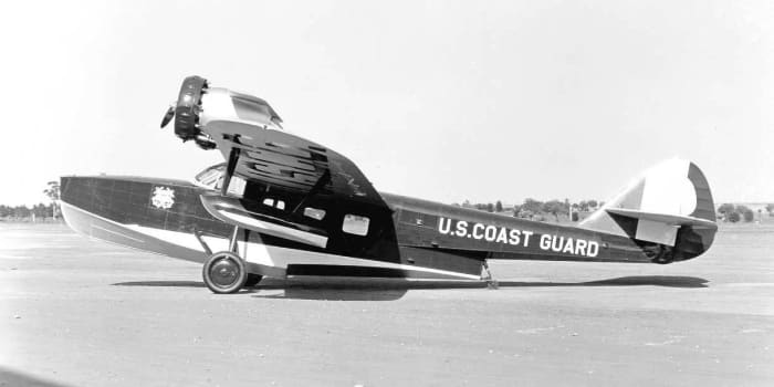 A RD-2 Douglas Dolphin.  The first aircraft to fly a sitting president, Franklin D. Roosevelt, was a RD-2 Douglas Dolphin.