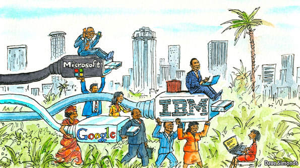 """This is a 2013 illustration of tech companies """"having their eye"""" on the African continent."""