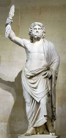 This sculpture portrays Zeus, god of the sky, lightning, thunder, law, order, and justice. Zeus fathered the Muses with Mnemosyne.