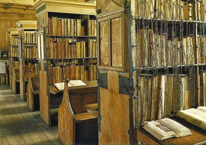Hereford Cathedral boasts 56 chained books dating from before 1500, and about 1,500 books dating between the late 1400s to early 1800s.