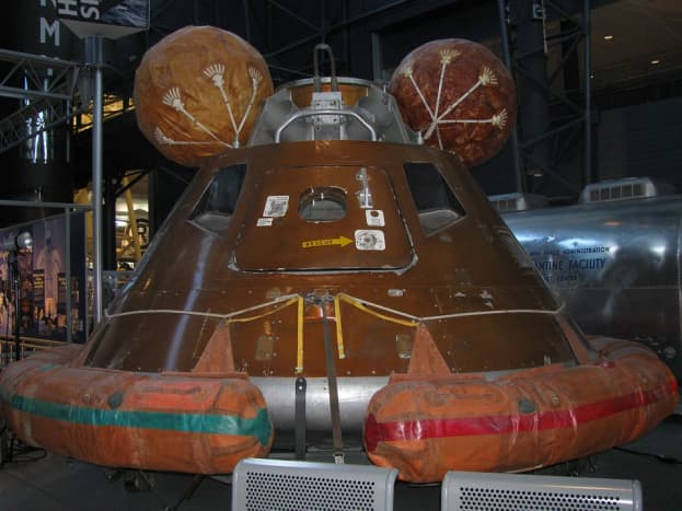 Apollo 11 crew command capsule. During 2018 and 2019, it went travelling on tour.