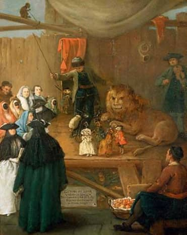 Big cat taming was part of the earliest circuses, always performed by men, as in this traveling menagerie, 1762.