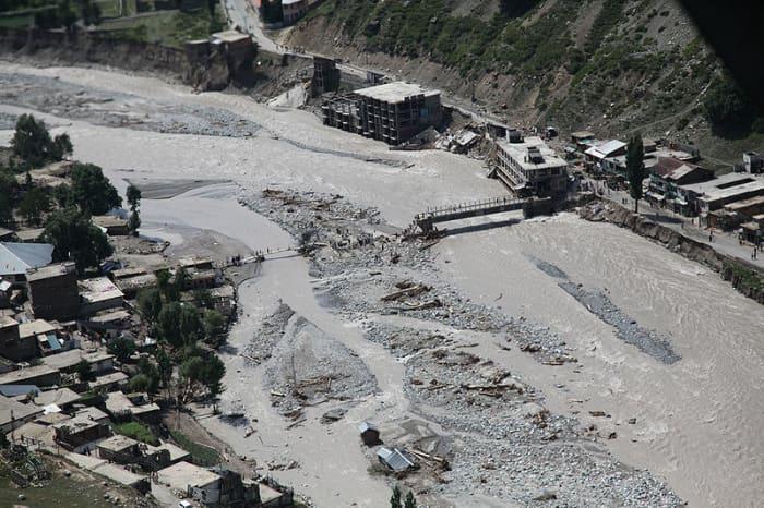 Flood-damaged bridge, Pakistan.  Image courtesy US DOD & Wikimedia Commons.