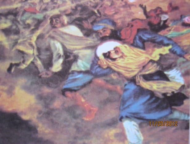 Bhai Jaita carrying the severed head of Guruji