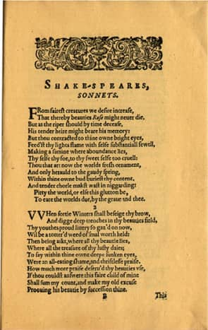 Quarto 1 1609 publication of the Sonnets. Note the different spelling and the 'f' form of the letter s.