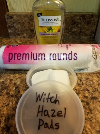 Only two ingredients are needed to make witch hazel pads.
