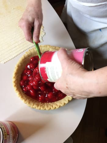 Use a rubber spatula to get all the filling from the can.