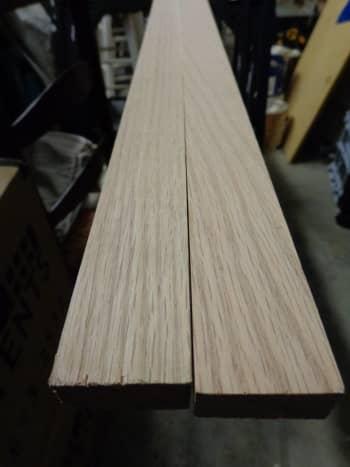 Red oak 10-foot 1 x 2, halved.