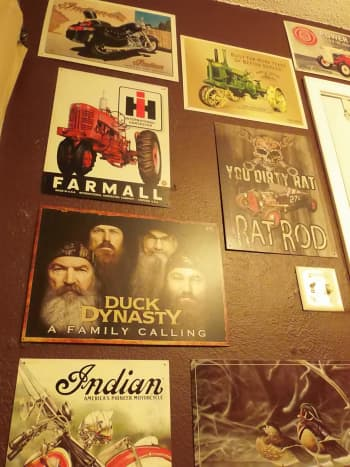 The walls are covered with tin signs that reflect some of my favorite things.