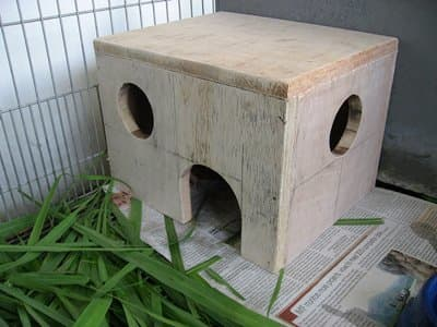 This homemade shelter for an indoor cage is a great comfort to the inhabitants.