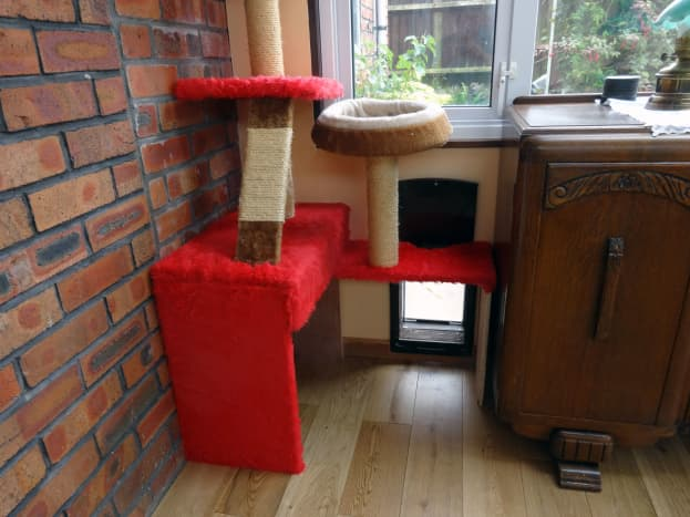 Cat tree modelled around cat flap and scratch ladder refitted.