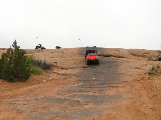 Intermingled between the sand areas are areas of slick rock.