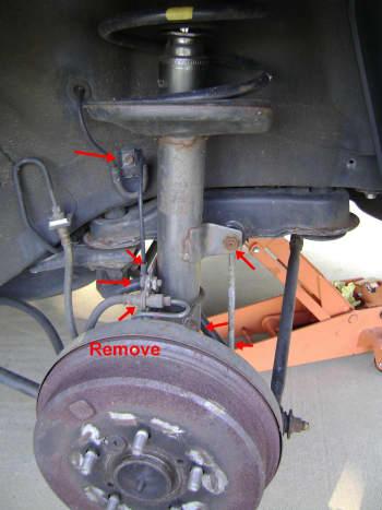 Camry lower strut assembly removal