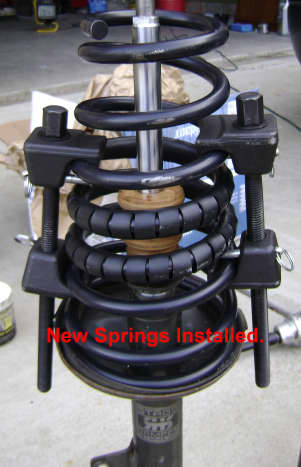 New Camry rear strut spring, spring insulator and bumper installed