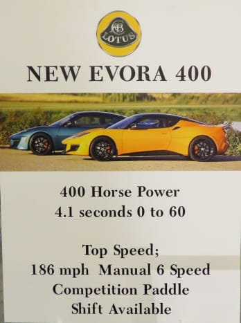 Sign: New Evora 400 with 400 Horse Power