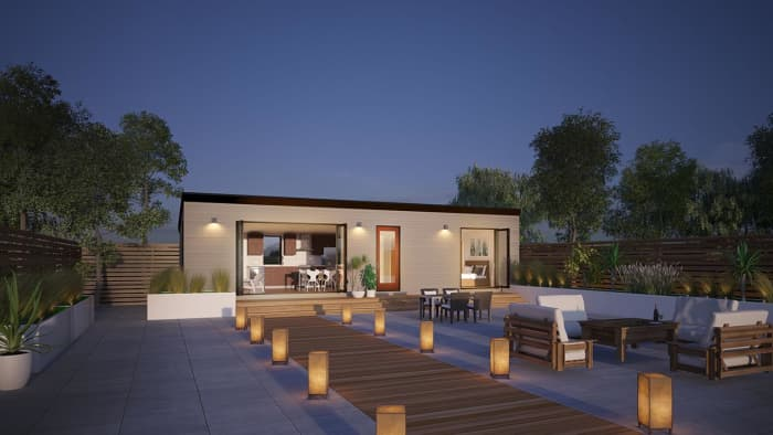 The Cabana features 10-foot ceilings and a generous 605 sq ft footprint.