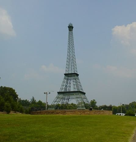 Paris TN has its own 60-foot Eiffel Tower in Memorial Park. It was constructed in 1993 by engineers at Christian Brothers University. See the video below for more.