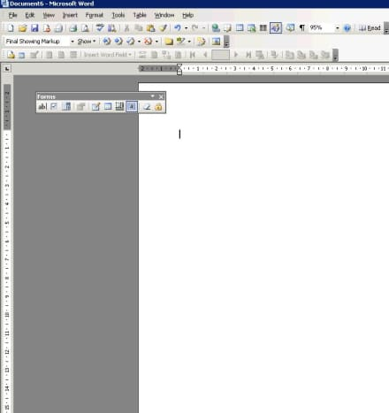 View -  Toolbars -  Forms, will show the forms toolbar
