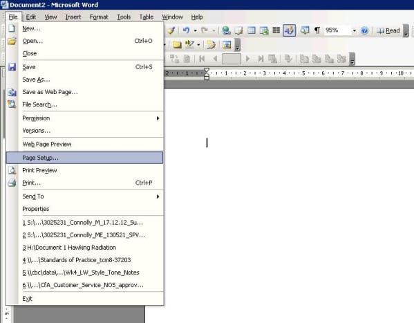 To set margins and orientation for the page, click File -  Page setup