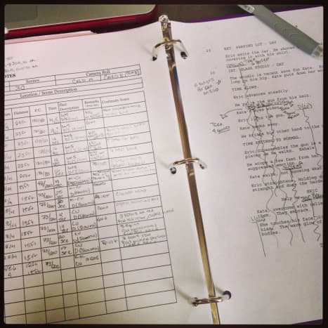 Example of Script Supervisor Notes on Set