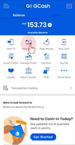 "Click on ""Send Money"""