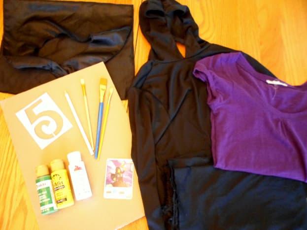 The supplies to create a Ninjago Lloyd costume.
