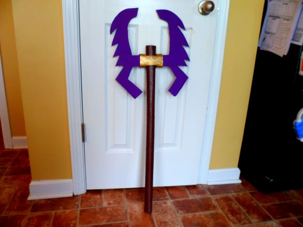 Our finished Ninjago Lloyd's double-bladed sword.