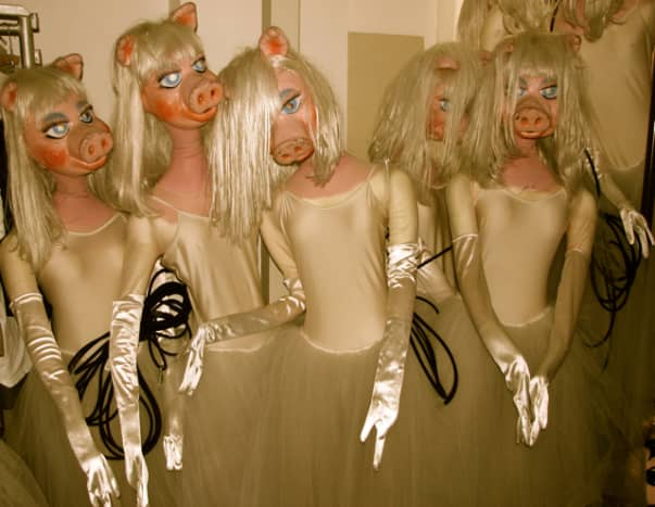 Miss Piggy bungee-ballet costumes! Leipzig ballet costume store at the Leipzig Opera.
