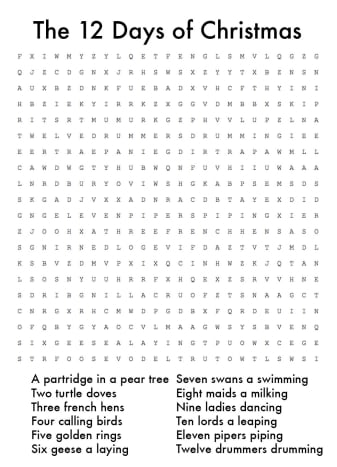"""""""12 Days of Christmas"""" Word Search. Click on thumbnail to reveal answers."""