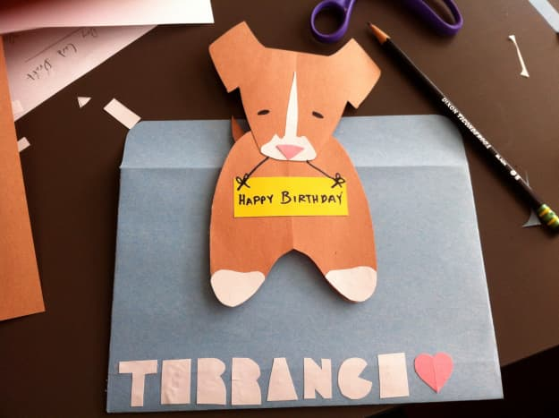 Homemade cards can be just as awesome as handmade gifts.  Here's a paper dog card I made for my husband's birthday.