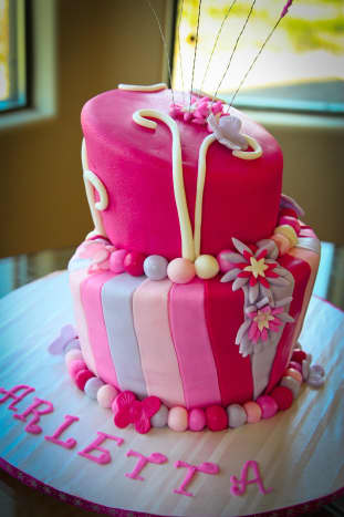 Pink cake for a little girl.