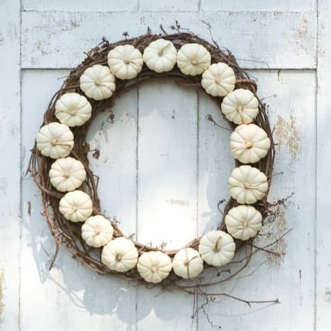 Wreath made using single color pumpkins.  You can change this up to suit your decor or your design scheme.