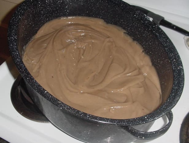 Homemade soap in enamel roasting pan