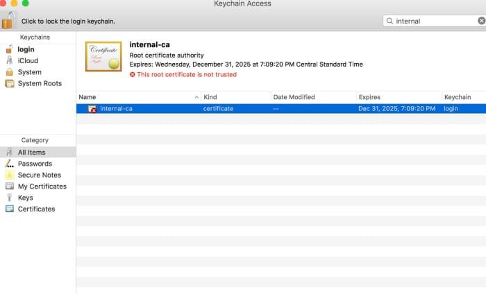 Imported a CA certificate in Mac OS X