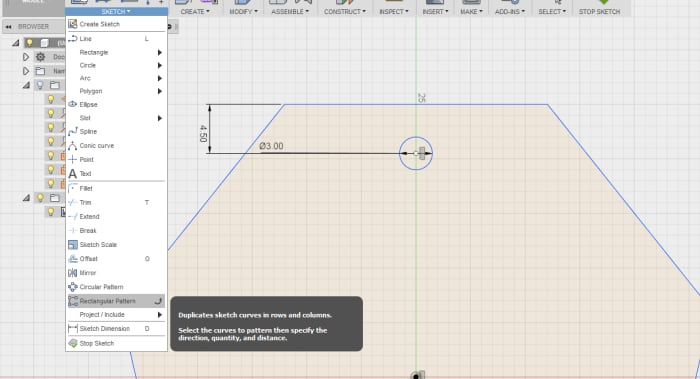 Finding the Rectangular Pattern tool.