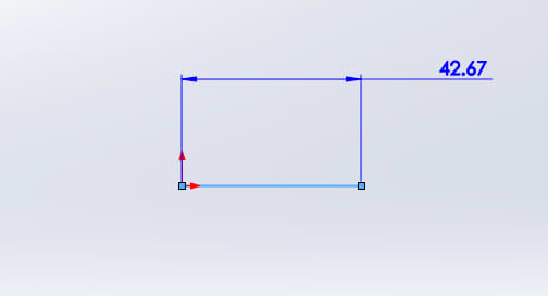 Clicking on the line with the Smart Dimension tool