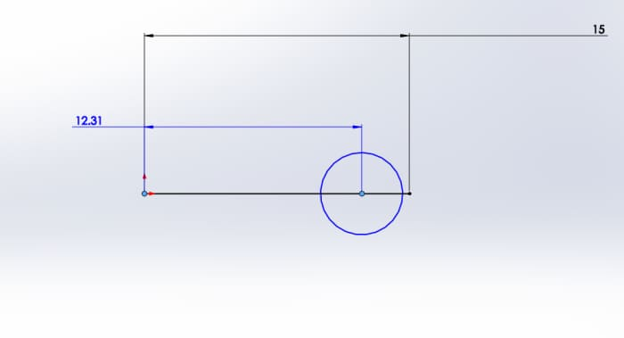 Defining the circle's distance from the origin
