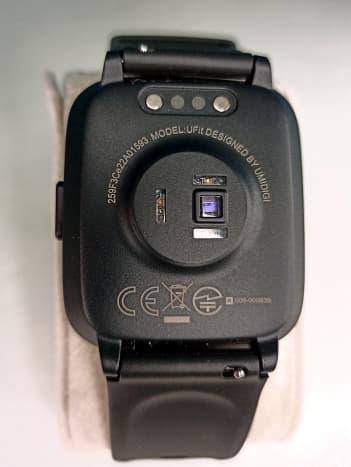 Back of  Umidigi Ufit Smartwatch, displaying its array of sensors