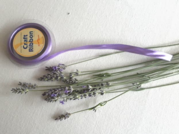Ribbon and lavender flower stems for making lavender wand.