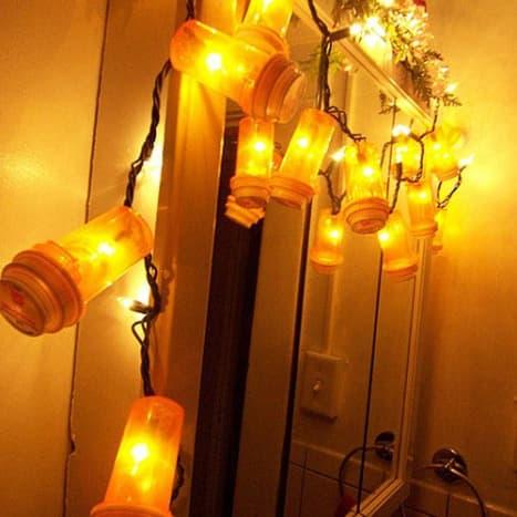 Consider using LED light strands which do not get as hot as regular strands.