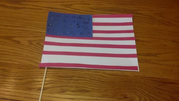 Our finished paper flag craft.