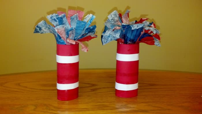 Our finished firecracker crafts.
