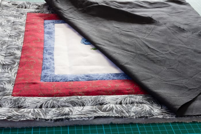 Lay the backing fabric on the front of the design.