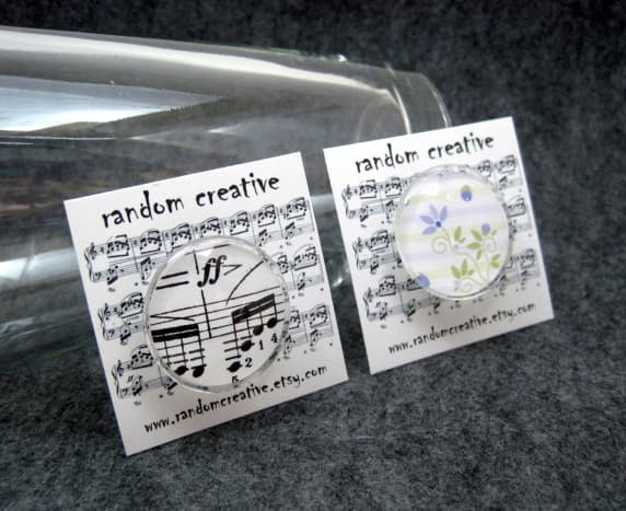 """For freebies and party favors, small cards work well.  These cards are 2"""" x 2""""."""