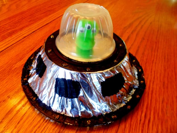 Our finished alien spaceship.