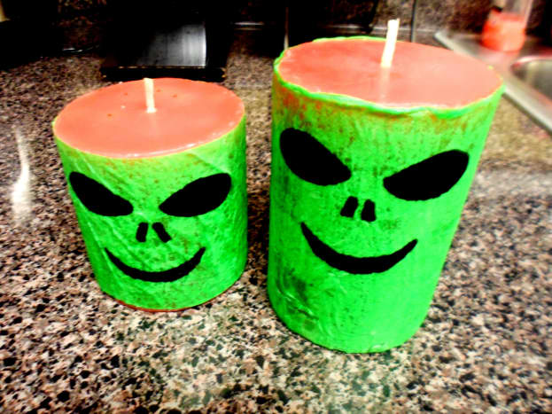 Our finished alien candles.