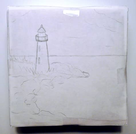 Sketch taped onto canvas