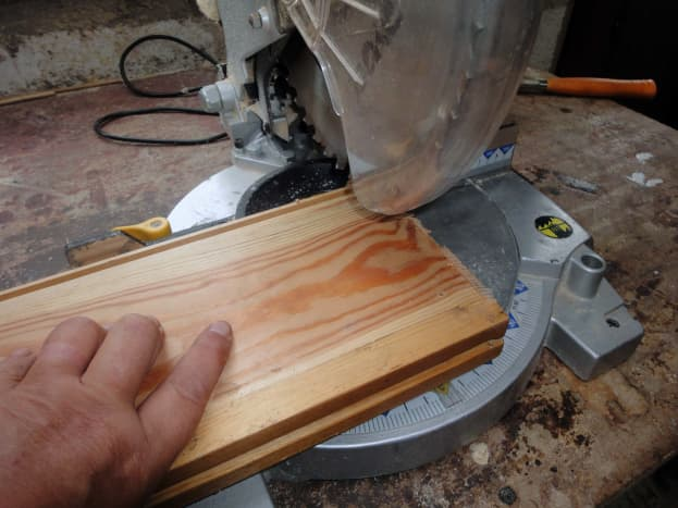 Trimming the end of the wood to square-it-up